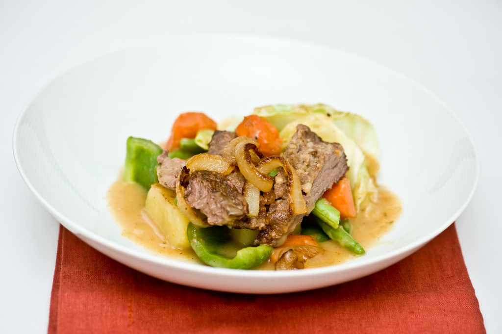 Quick Stew with Caramelized Vegetables & Bavette/Flap Steak