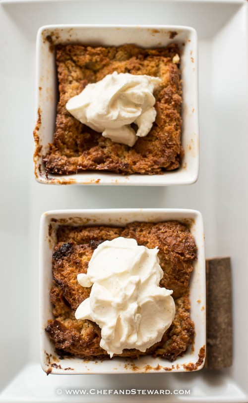 Best French Toast Bread and Butter Pudding with homemade vanilla bean extract whipped cream-2